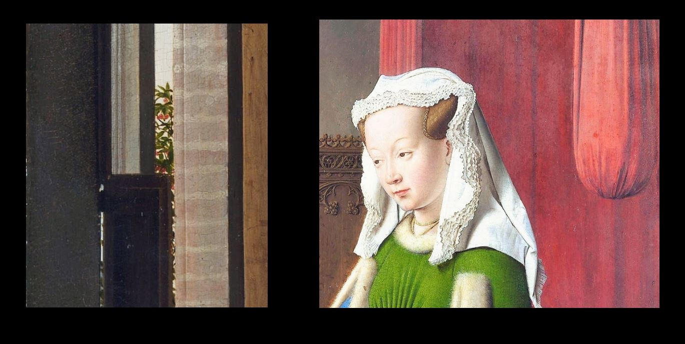 Van_Eyck 1434 _Arnolfini_Portrait cerise noeud