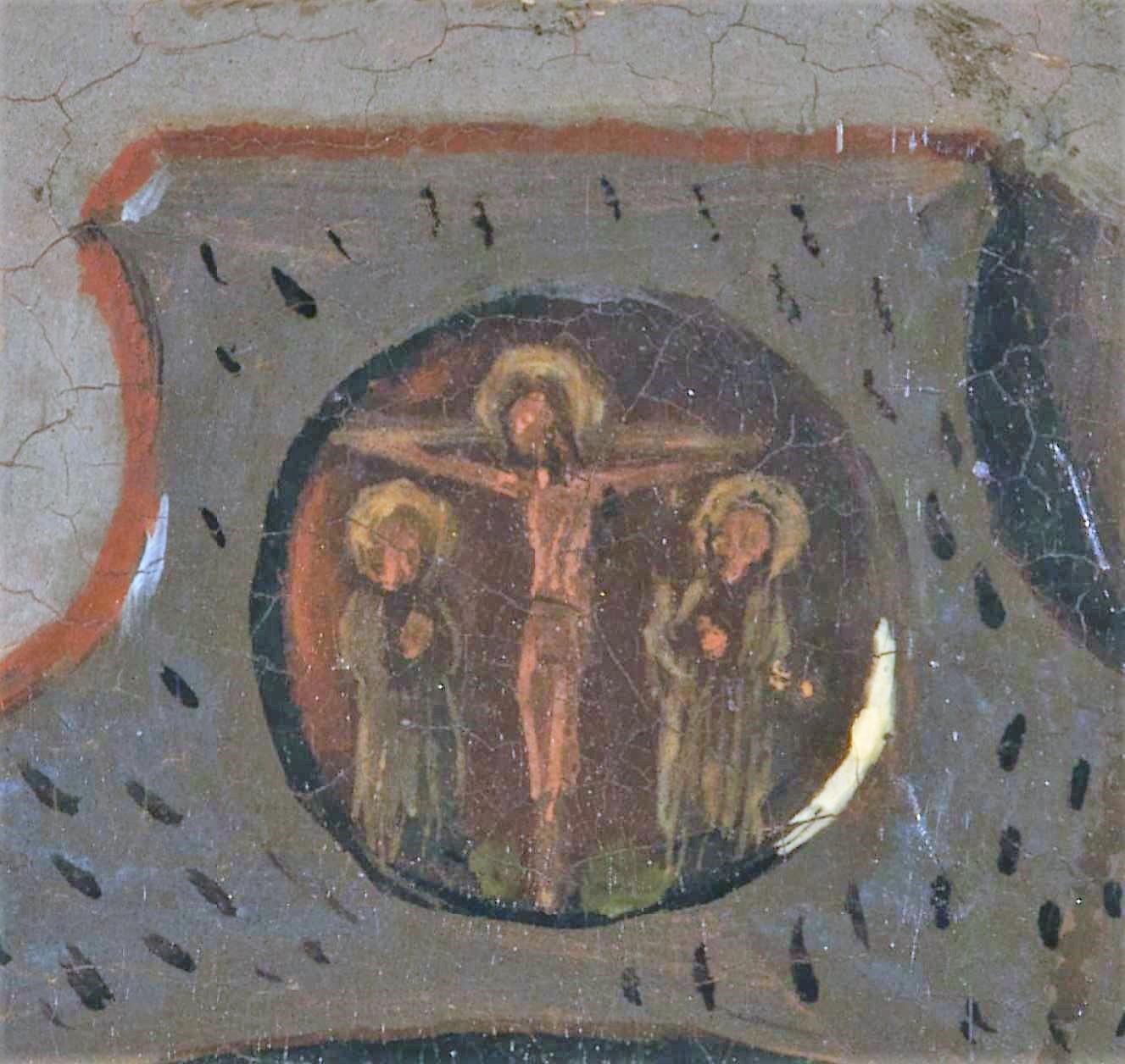 Van_Eyck 1434 _Arnolfini_Portrait miroir medaillon crucifixion