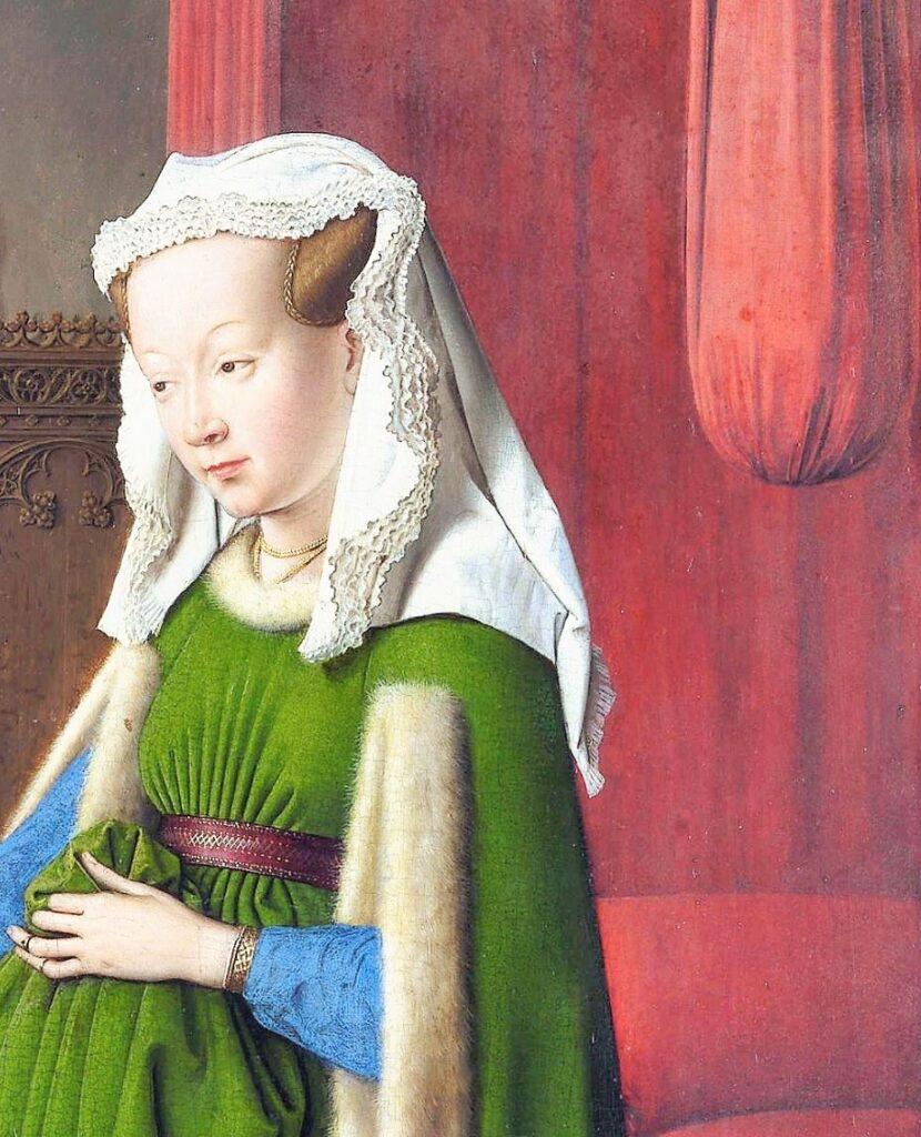 Van_Eyck 1434 _Arnolfini_Portrait noeud ventre