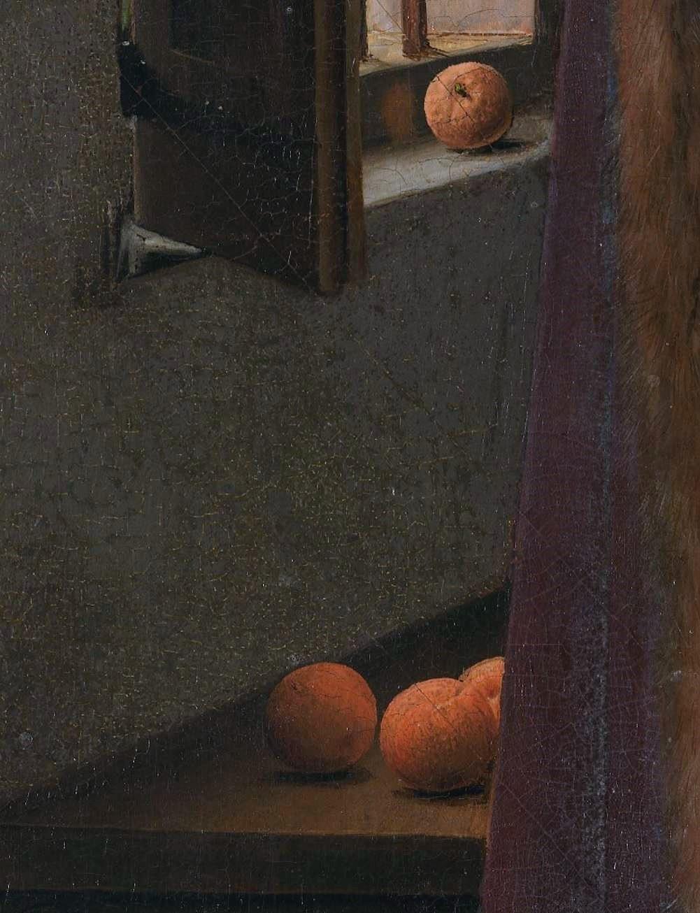 Van_Eyck 1434 _Arnolfini_Portrait oranges