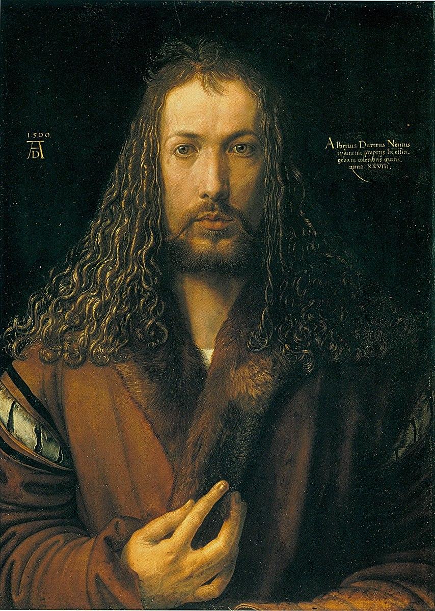 1500 Durer Selbstbildnis_im_Pelzrock_-_Alte_Pinakothek