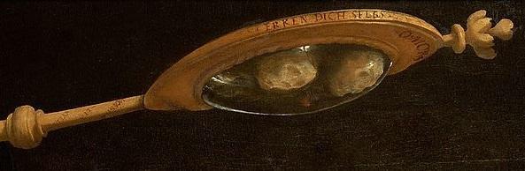 FURTENAGEL 1527 Portrait du peintre Hans Burgkmair avec son epouse Anna miroir