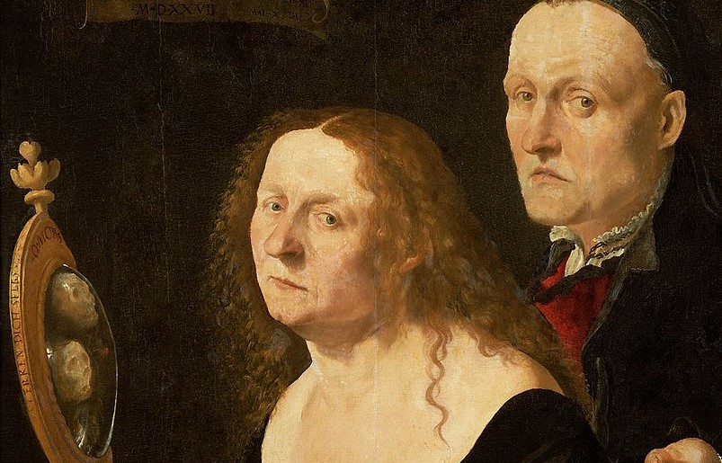 FURTENAGEL 1527 Portrait du peintre Hans Burgkmair avec son epouse Anna reflet