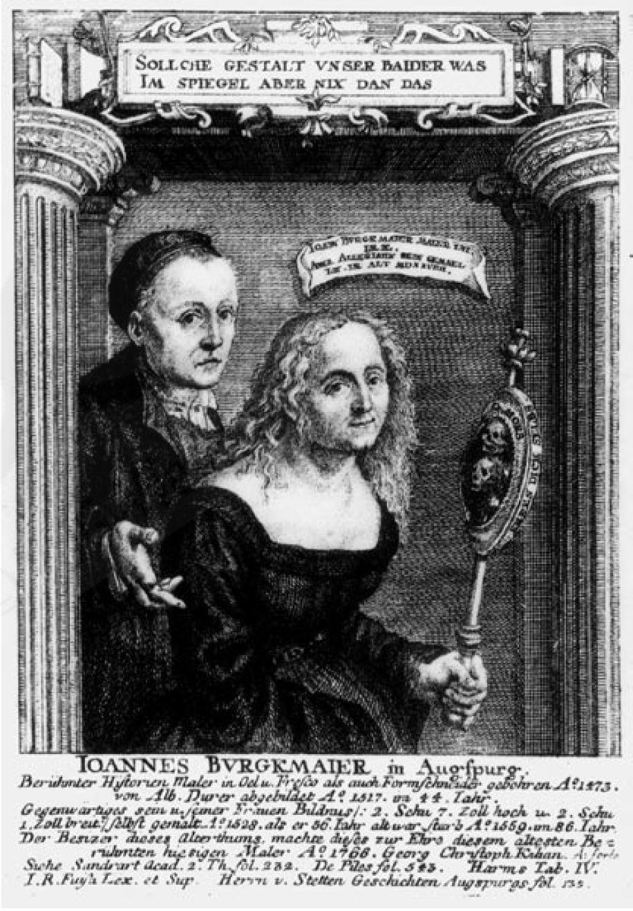 Gravure de Georg Christoph Kilian, 1768, d'après le double portrait de Hans Burgkmair