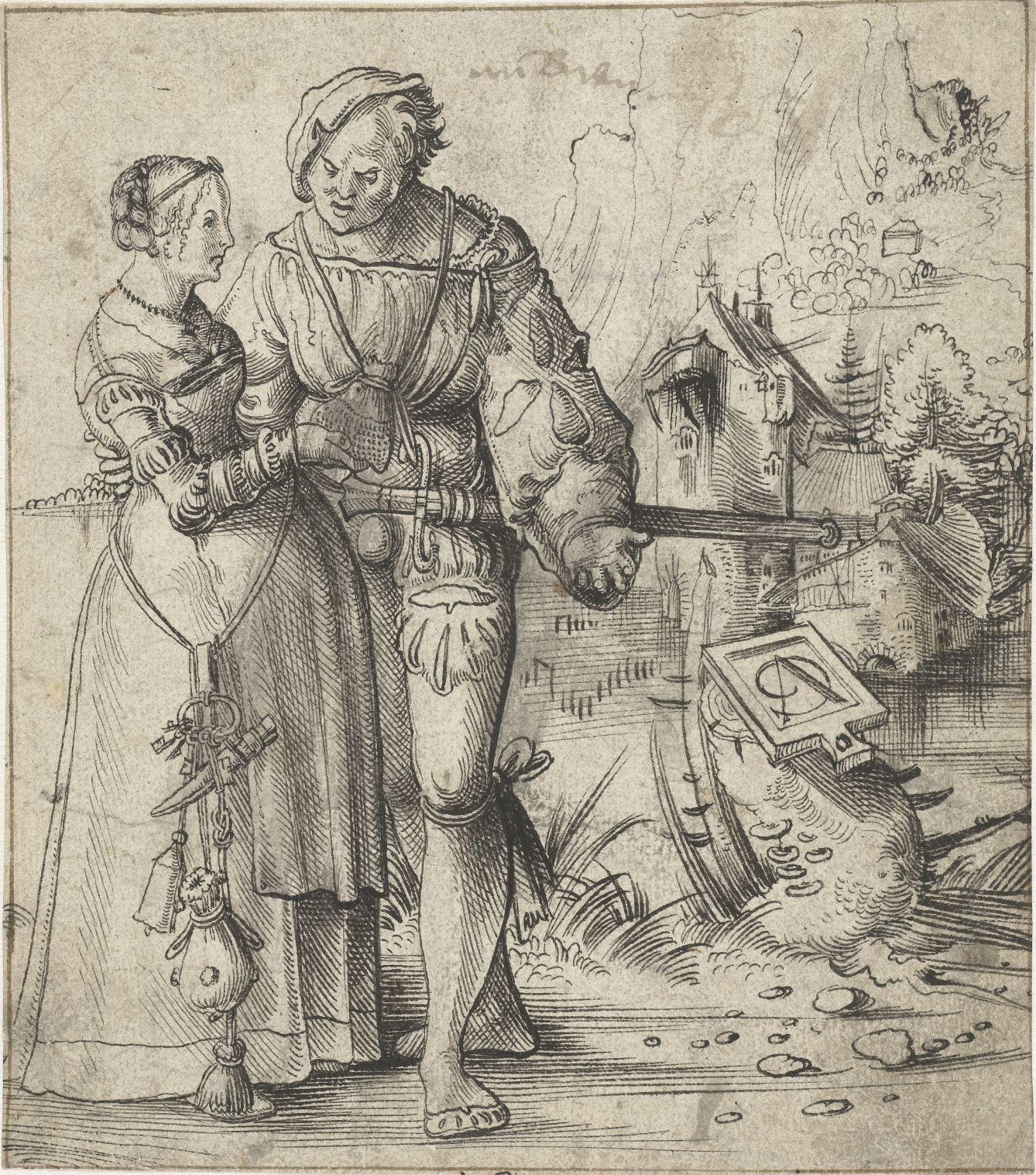 Krijgsman en jonge vrouw in landschap, Urs Graf, 1500 - 1528 Rijksmuseum