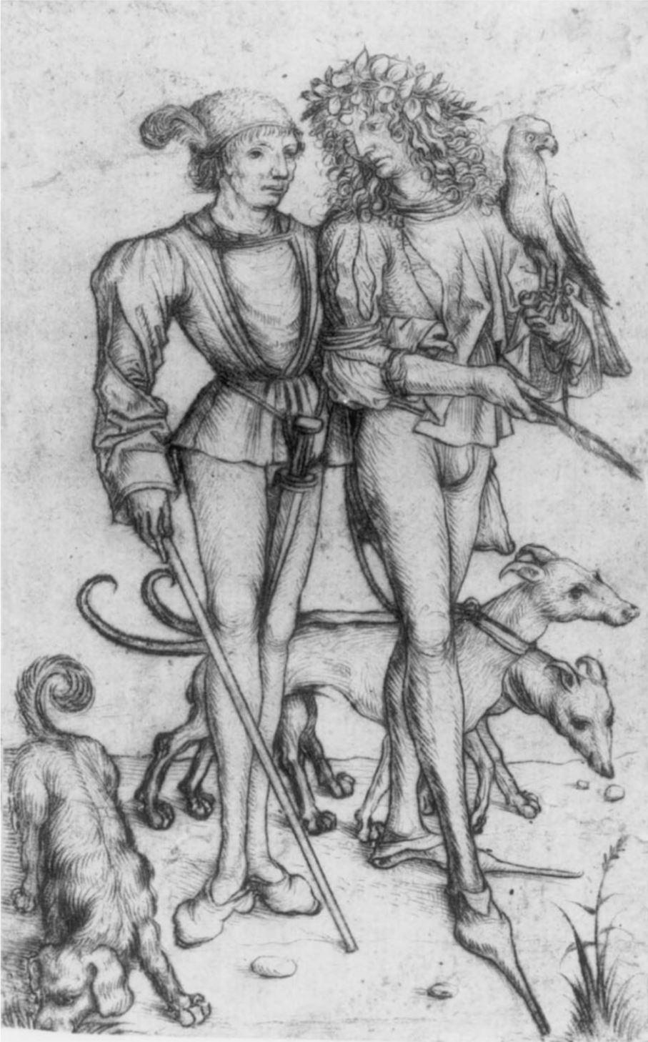 Meister des Amsterdamer Kabinetts 1485 Fauconnier detail mains