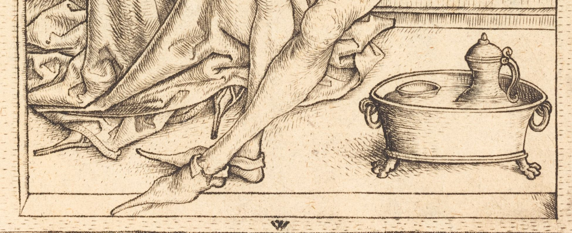 Wenzel von Olmutz after Master of the Housebook 1490 ca the_lovers NGA detail pieds