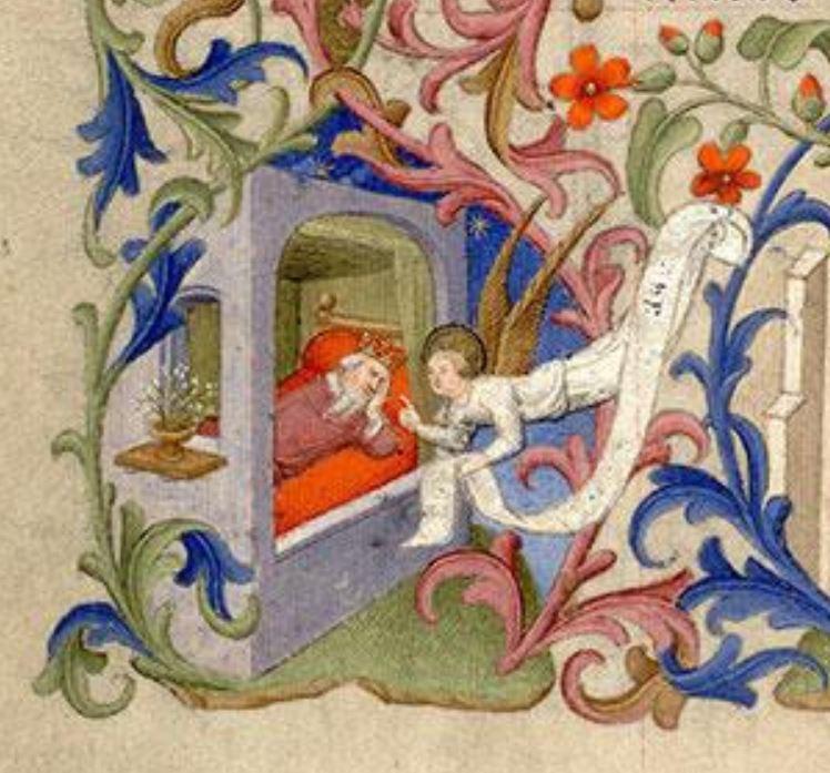1410-1415 Maitre de la Mazarine Annonciation Heures Mazarine, Mazarine MS 469 fol 69v detail