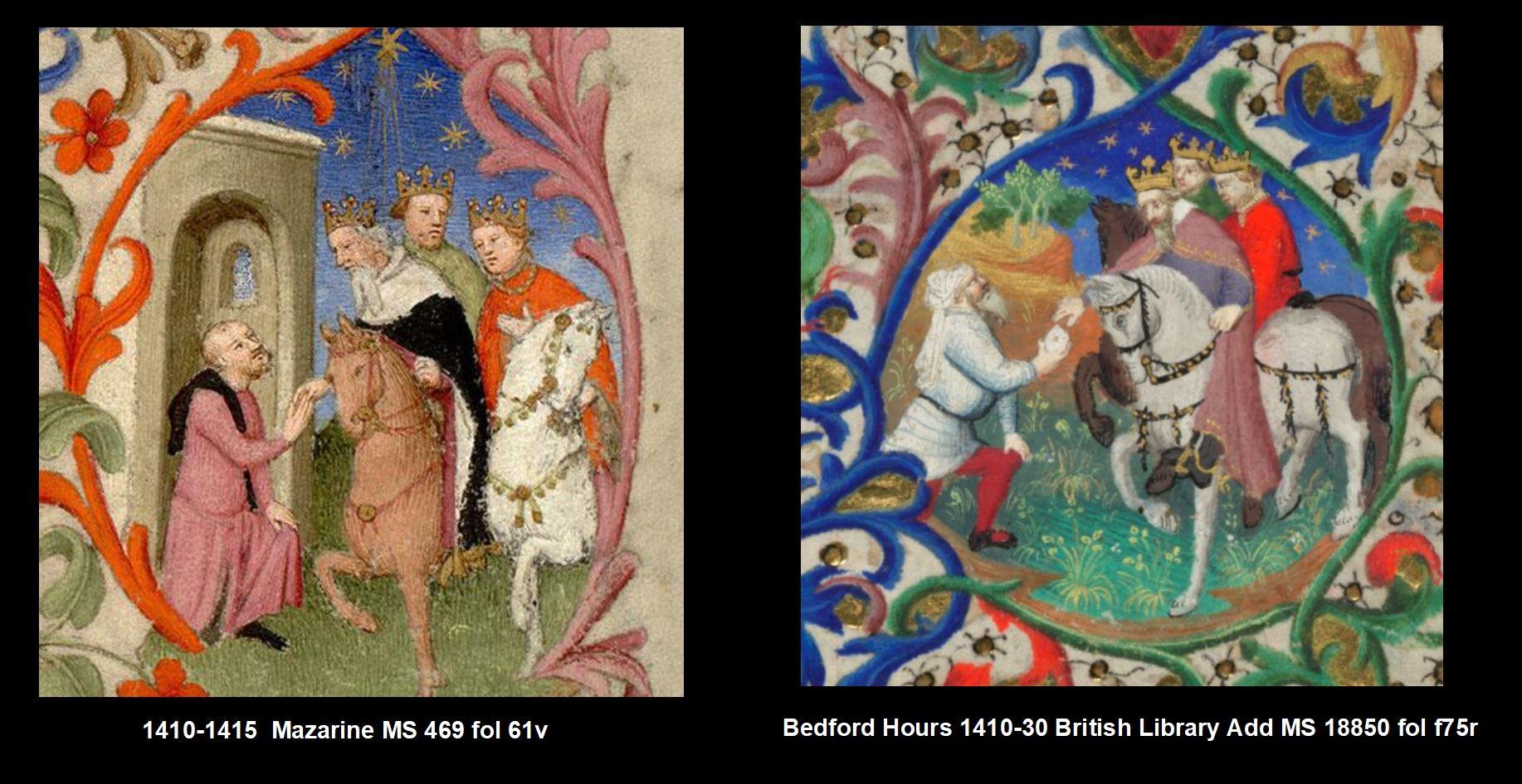 1410-1415 Maitre de la Mazarine Maitre de Bedford Comparaison 61v Mages detail