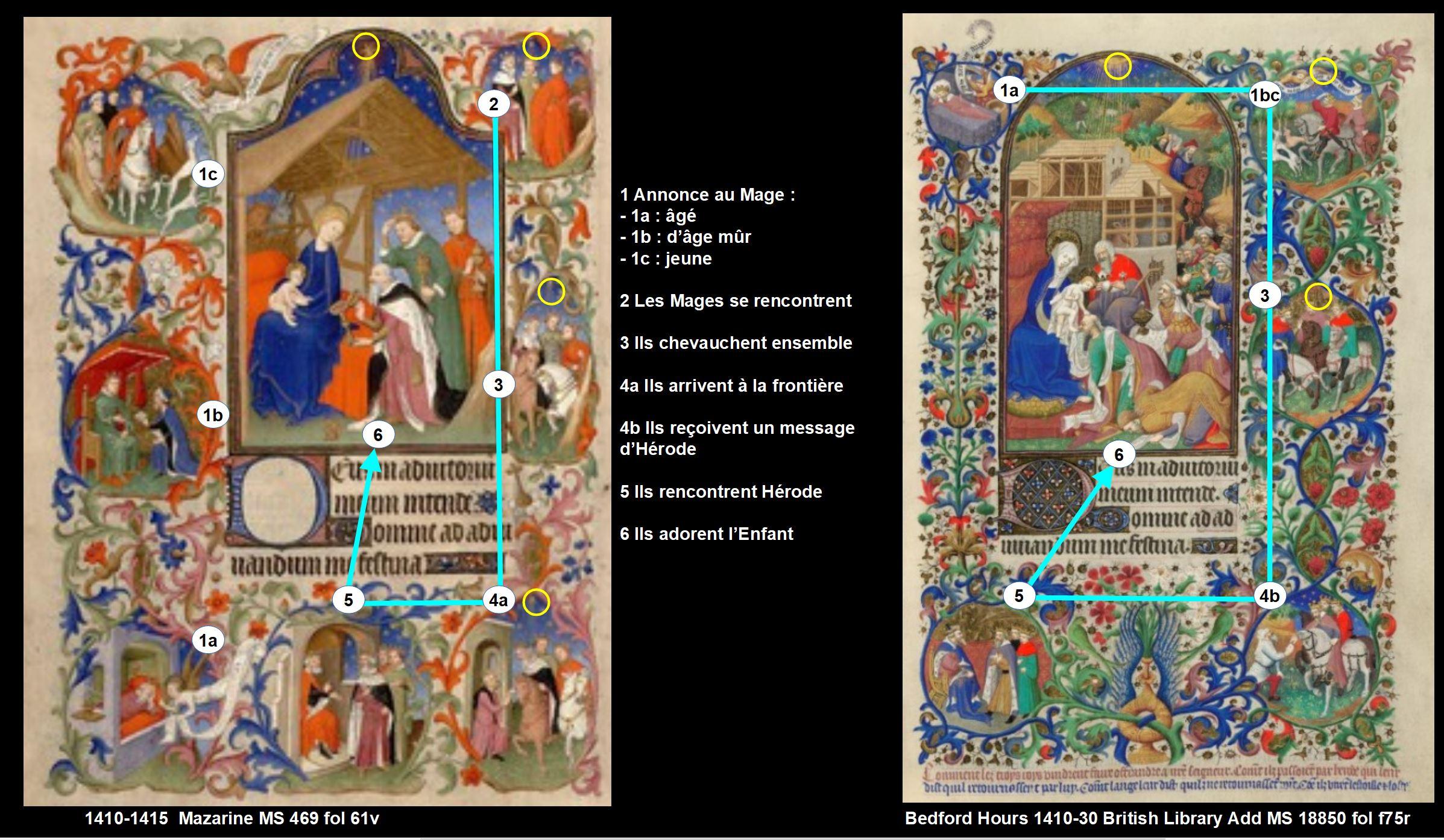 1410-1415 Maitre de la Mazarine Maitre de Bedford Comparaison 61v Mages