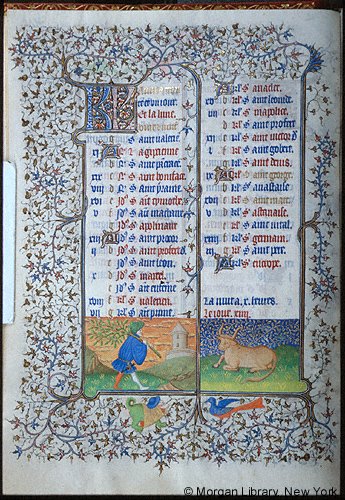 1420-25 Book of Hours Paris Morgan Library MS M.1004 fol. 2v Avril