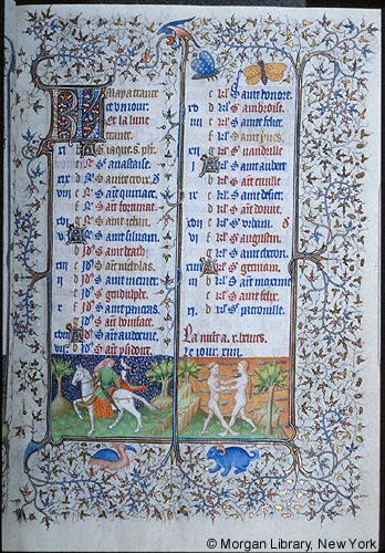 1420-25 Book of Hours Paris Morgan Library MS M.1004 fol. 3r Mai