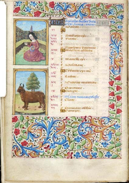 1470 ca Book of Hours Paris Morgan Library MS M.73 fol. 2v Avril