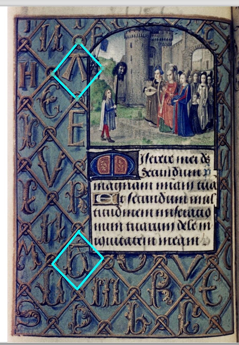 1475 ca Master of Mary of Burgundy Hours of Engelbert of Nassau Bodleian Library MS. Douce 220 fol 190v David avec la tete de Goliath schema