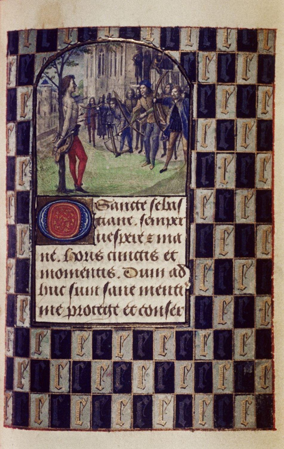 1475 ca Master of Mary of Burgundy Hours of Engelbert of Nassau Bodleian Library MS. Douce 220 fol 33r St Sebastien