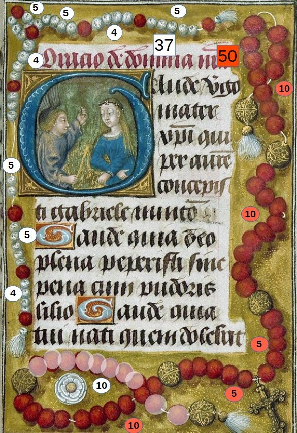 1480-90 Hours of Duke Adolph of Cleves, Initial G with the Annunciation, Walters Manuscript W.439, fol. 40 schema