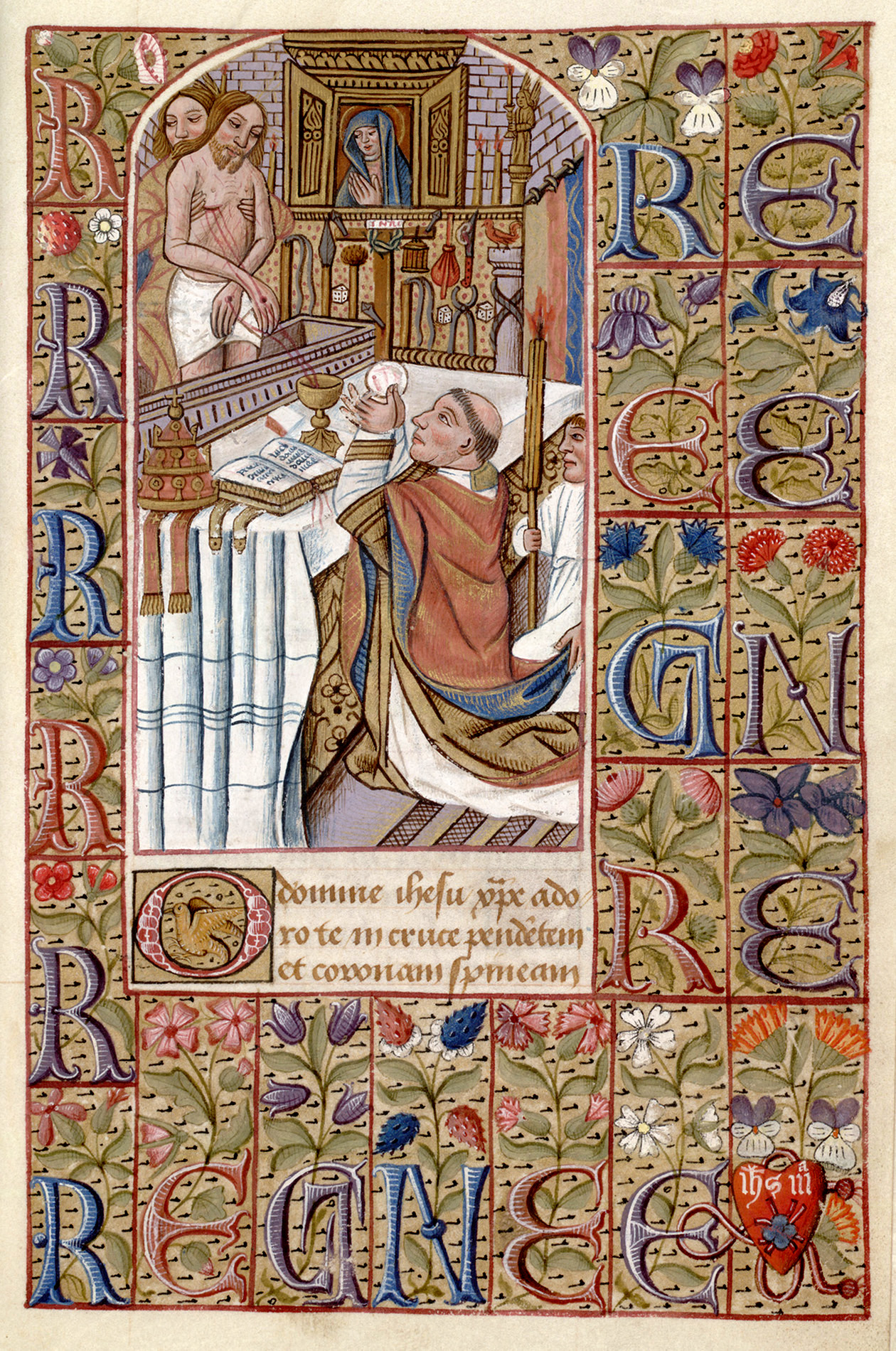 1485-1500 Vision of St. Gregory, Heures a L'usage de Chartres Huntington Library HM 01150 ,f. 161, San Marino, California