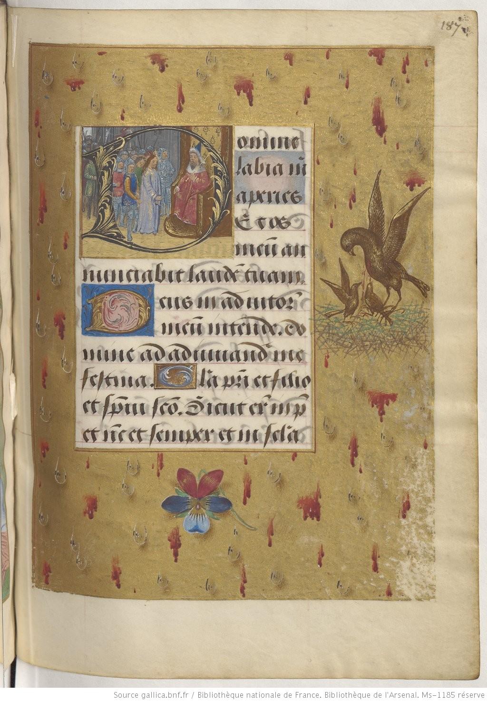 1490-96 Heures de Boussu, BNF Arsenal. Ms-1185 reserve fol 187r Gallica