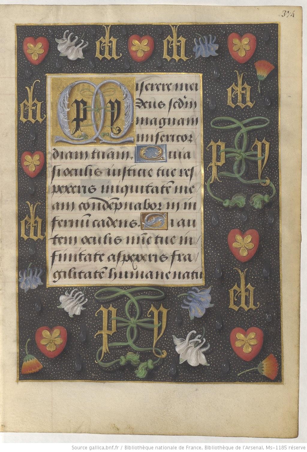 1490-96 Heures de Boussu, BNF Arsenal. Ms-1185 reserve fol 374r Gallica PV eh