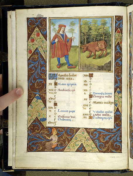 1495-98 Breviaire, Paris, Morgan Library MS M.934 fol. 2v Avril