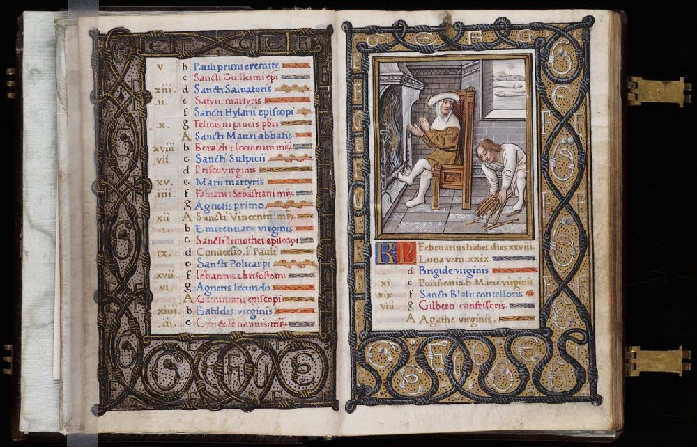 1500-20 Hours, use of Paris Yale University Library Beinecke MS 375 fol 1v-2r