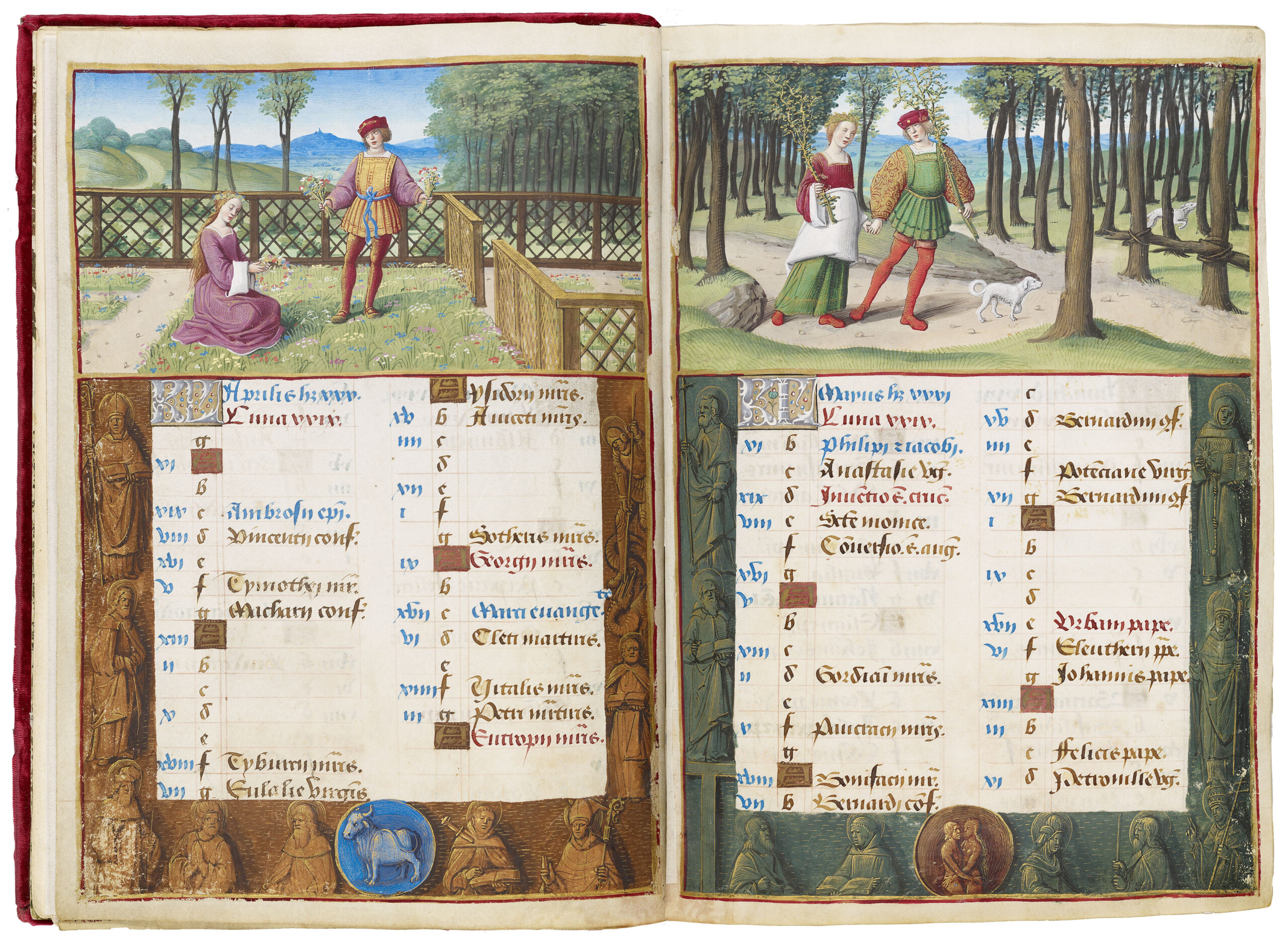 1500 ca Jean Poyer Hours of Henry VIII Tours, France Morgan Library MS H.8 fol 2v 3r
