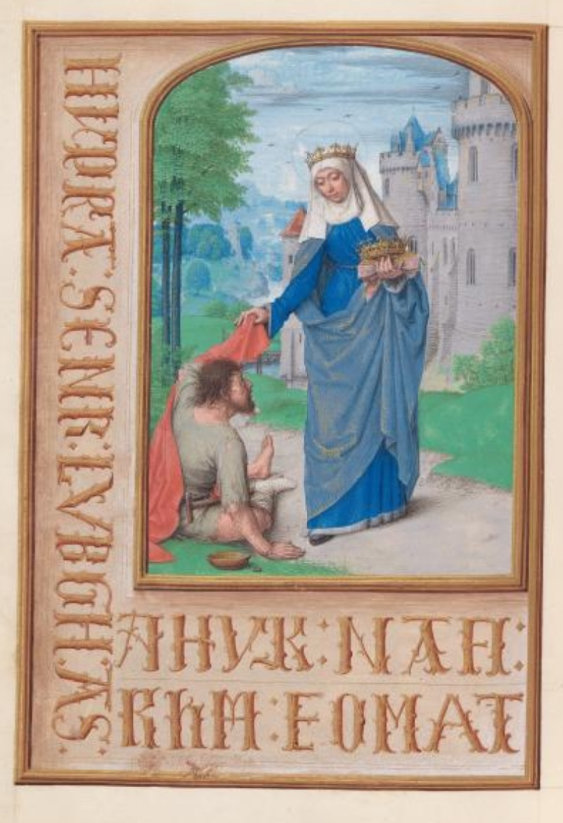 1500 ca Master of the First Prayerbook of Maximillian Hours of Queen Isabella the Catholic, Cleveland Museum of Arts, Fol. 197v, St. Elizabeth of Hungary