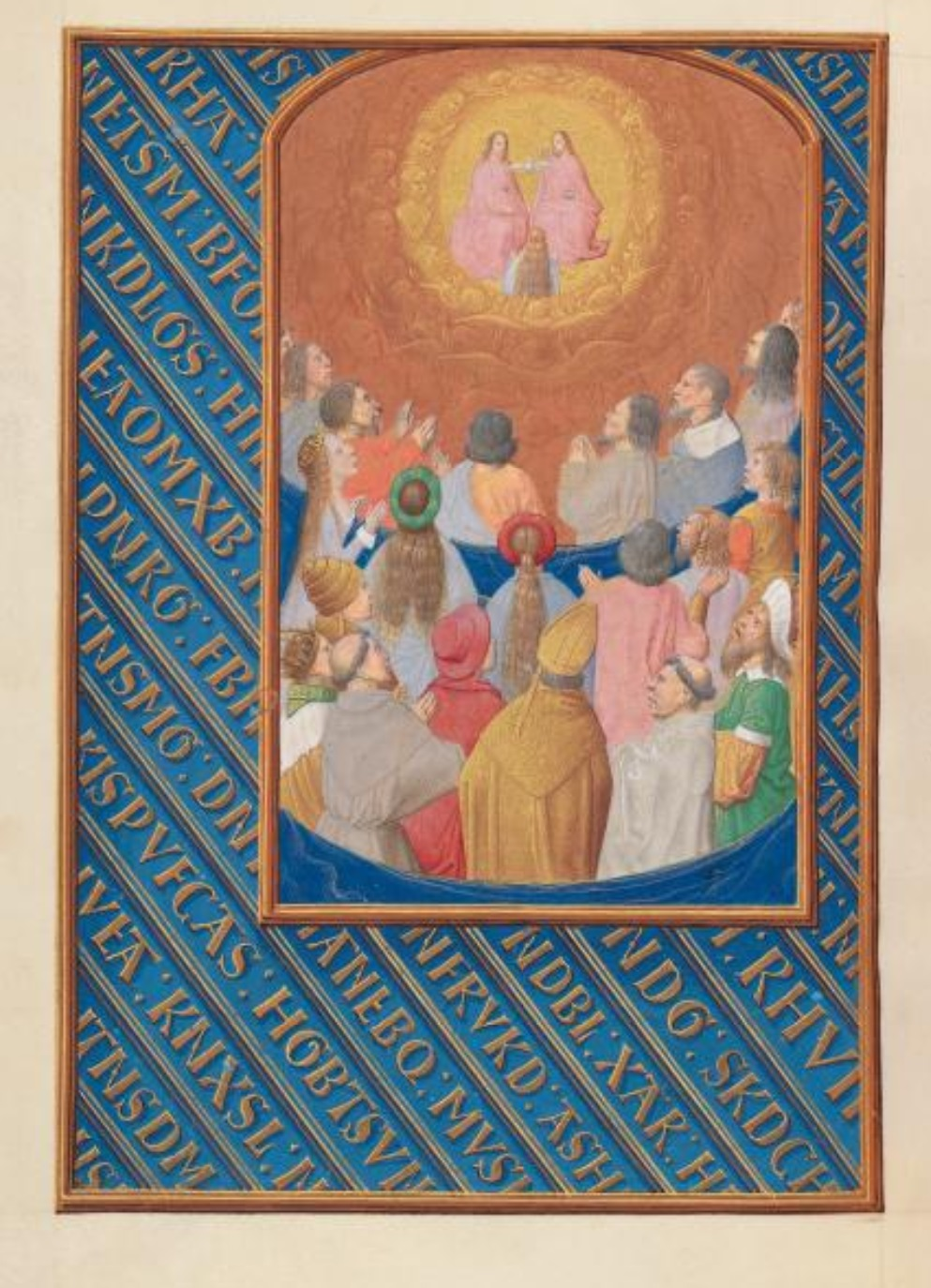 1500 ca Master of the First Prayerbook of Maximillian Hours of Queen Isabella the Catholic, Cleveland Museum of Arts, Fol. 37v, Court of Heaven