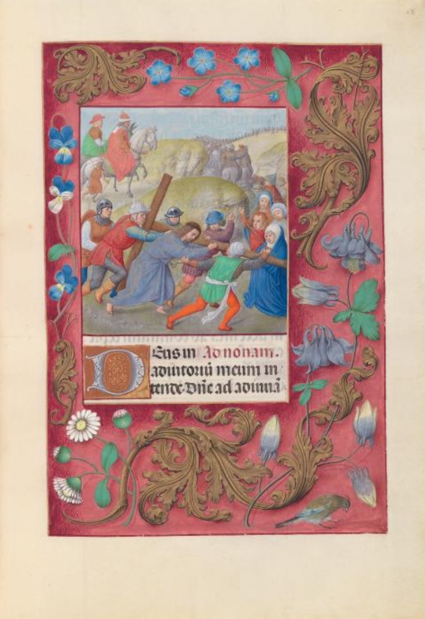 1500 ca Master of the First Prayerbook of Maximillian Hours of Queen Isabella the Catholic, Cleveland Museum of Arts, Fol. 69r, Christ Carrying the Cross