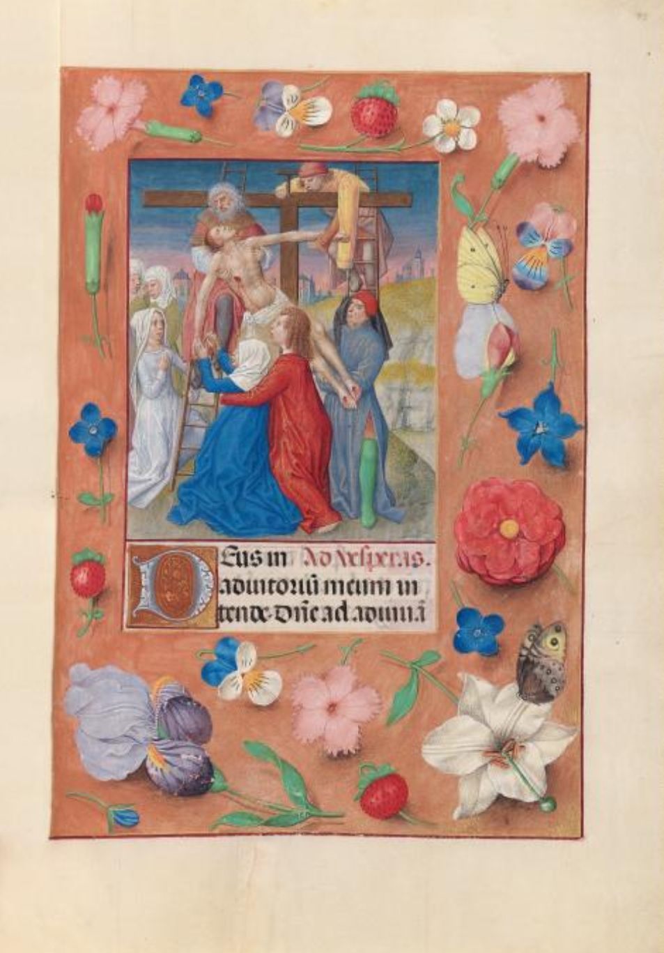 1500 ca Master of the First Prayerbook of Maximillian Hours of Queen Isabella the Catholic, Cleveland Museum of Arts, Fol. 73r, Descente de Croix