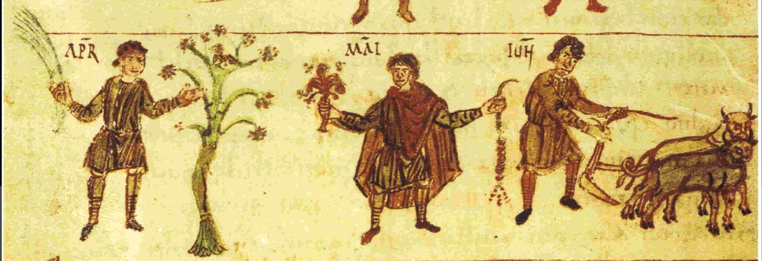 818 ca Monatsbild-Zyklus der Salzburger Handschrift Wien, Osterreichische Nationalbibliothek; Codex 387, fol. 90
