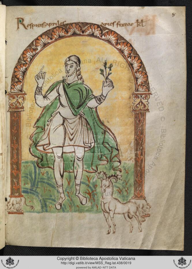 855 ca Martyrologium de Wandalbert de Prum Biblioteca Vaticana Cod. Reg. Lat. 438 fol 8r Avril