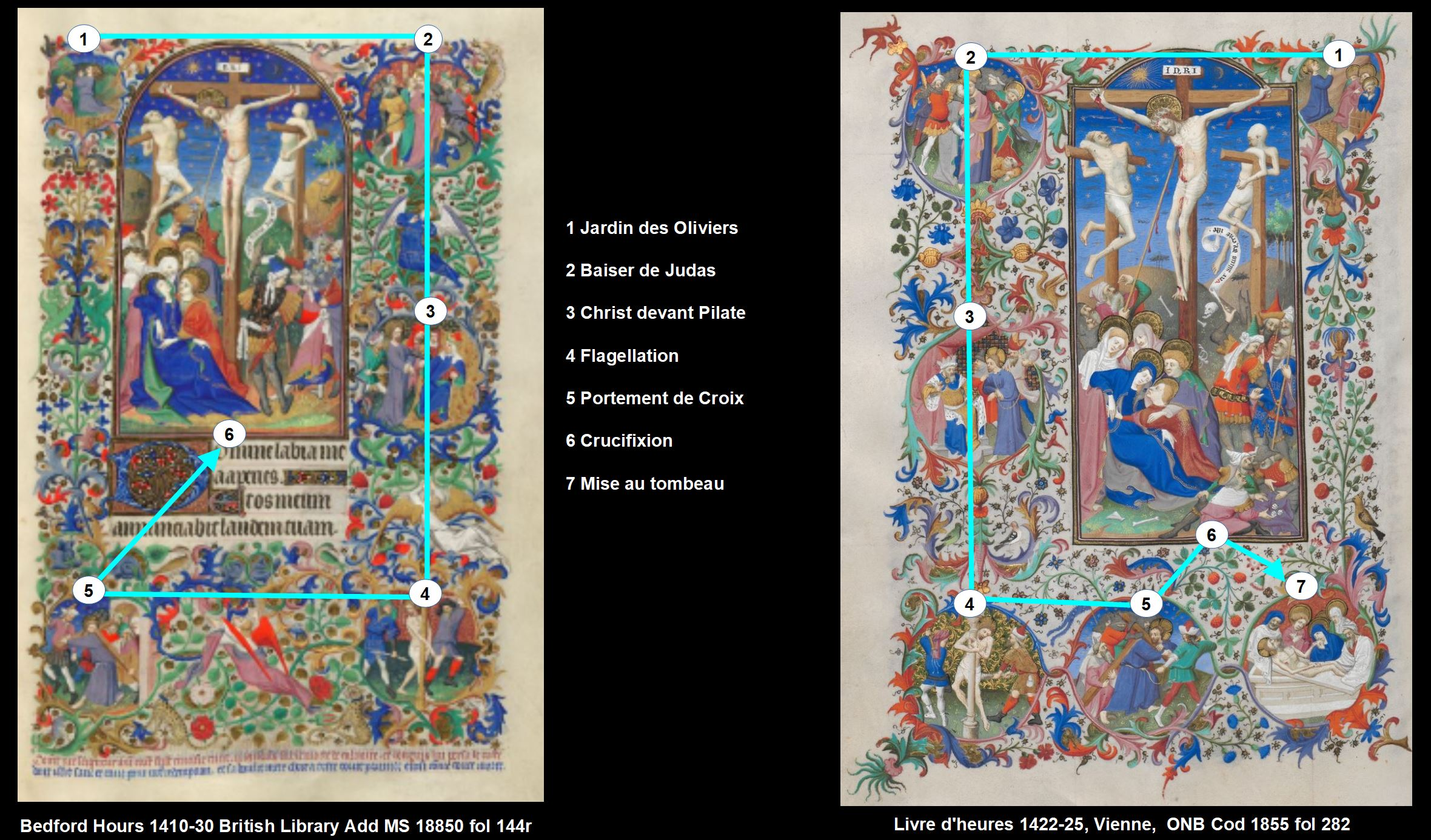 Bedford Hours comparaison Bedford 1855 Crucifixionjpg