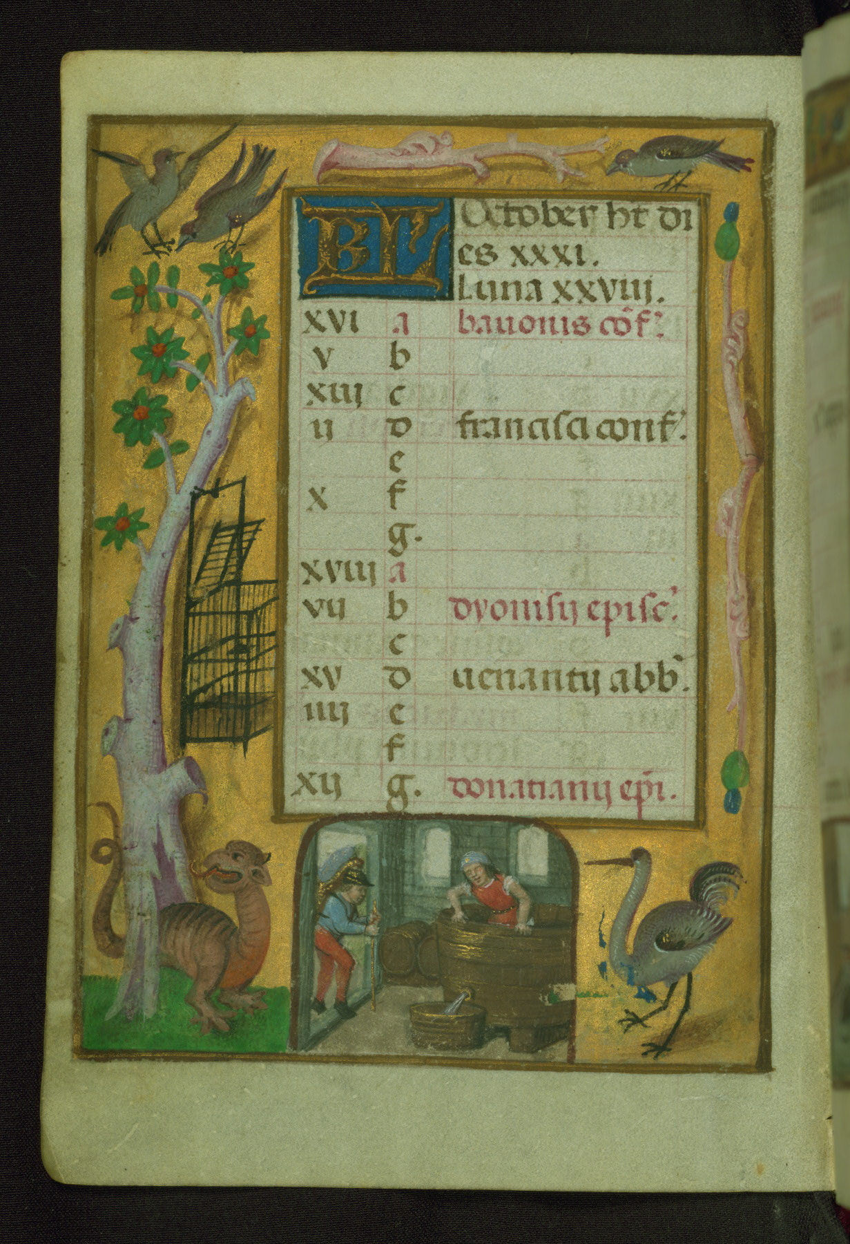 Book of Hours 1500 ca Ms. W.427 Walters Art Museum Baltimore fol. 11v (octobre)