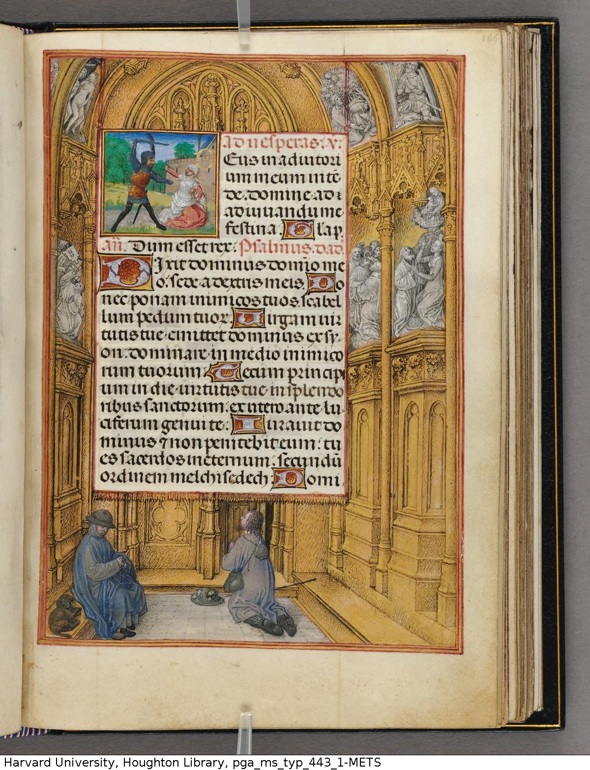Emerson-White Hours use of Rome 1480 ca Harvard University, Houghton Library, MSS Typ 443.1 fol 166 Simon Marmion Houghton Master