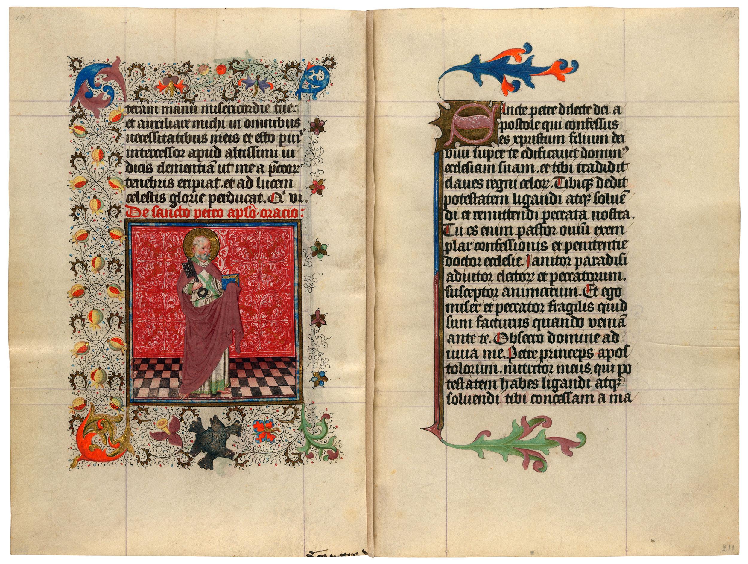 Heures de Catherine de Cleves ca. 1440 Morgan MS M.917-945, pp. 210-11 St Pierre