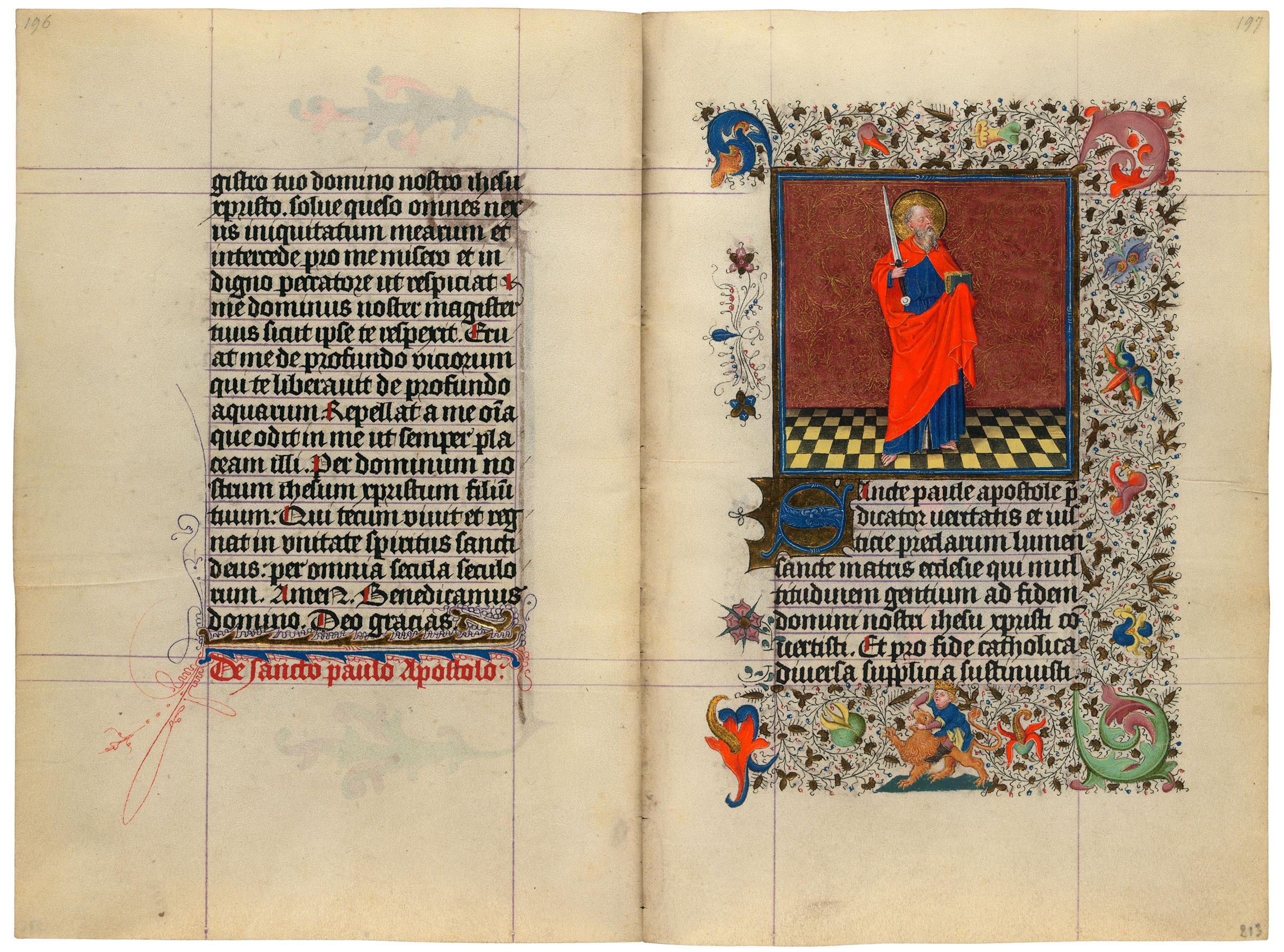 Heures de Catherine de Cleves ca. 1440 Morgan MS M.917-945, pp. 212-13 St Paul