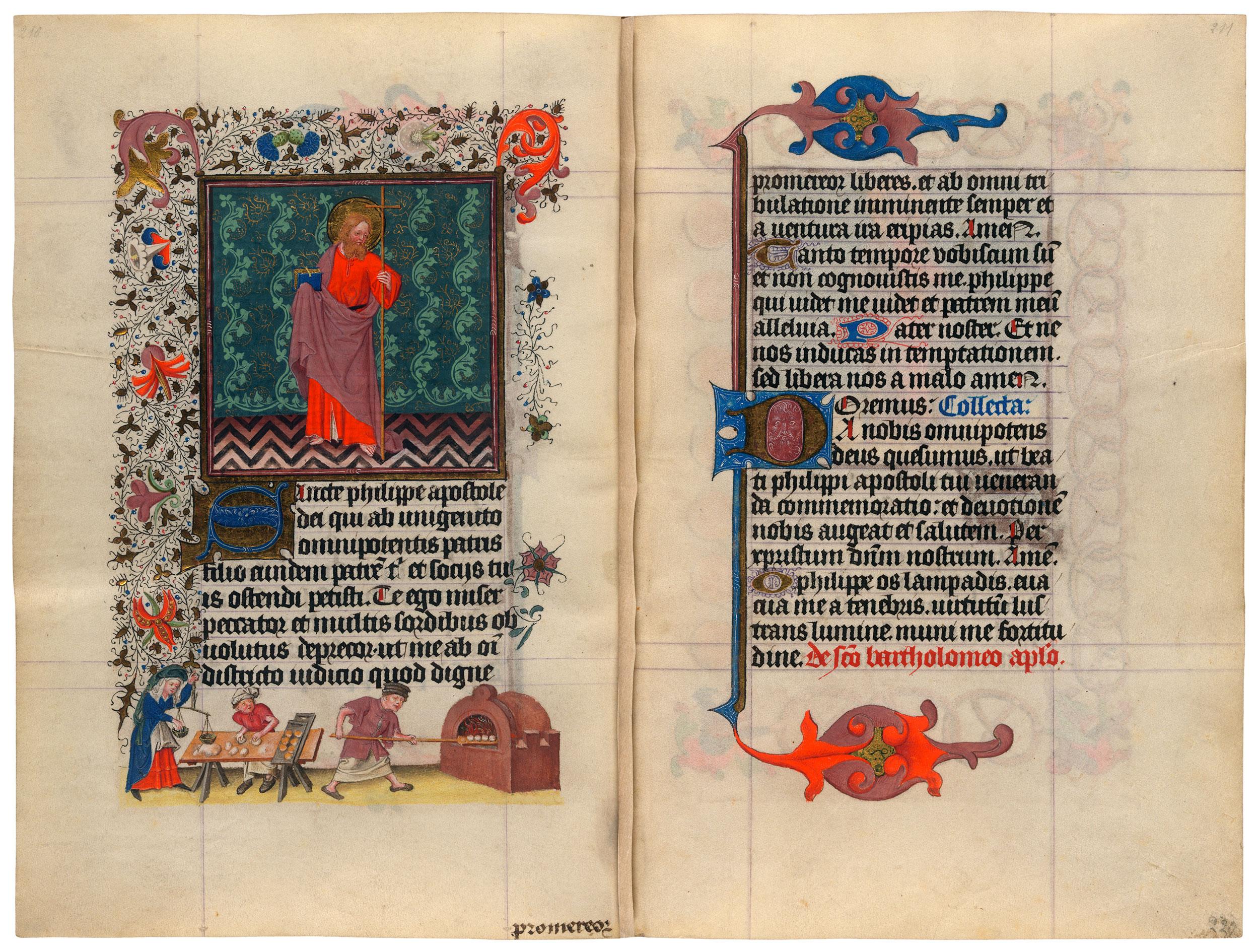 Heures de Catherine de Cleves ca. 1440 Morgan MS M.917-945, pp. 226-27 St Philippe