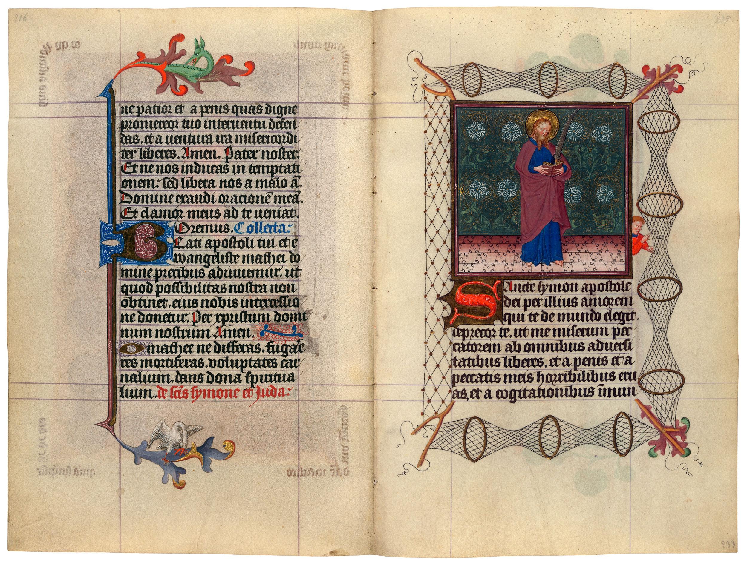 Heures de Catherine de Cleves ca. 1440 Morgan MS M.917-945, pp. 232-33 Saint Simon
