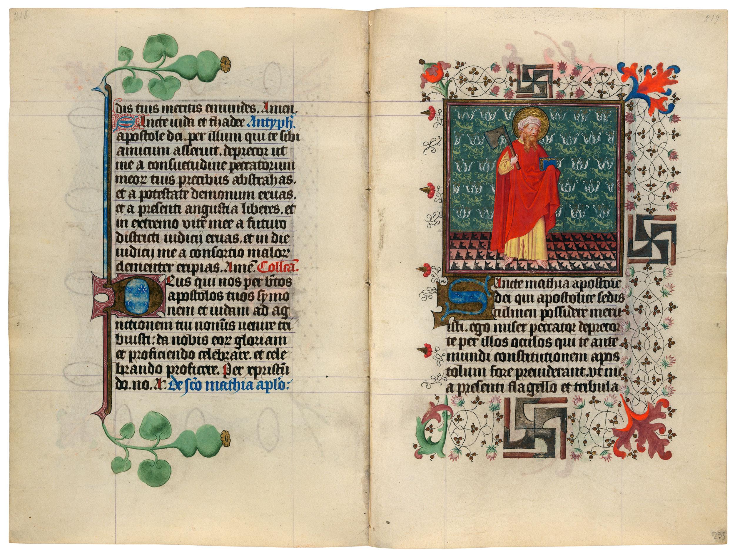 Heures de Catherine de Cleves ca. 1440 Morgan MS M.917-945, pp. 234-35 St Matthieu
