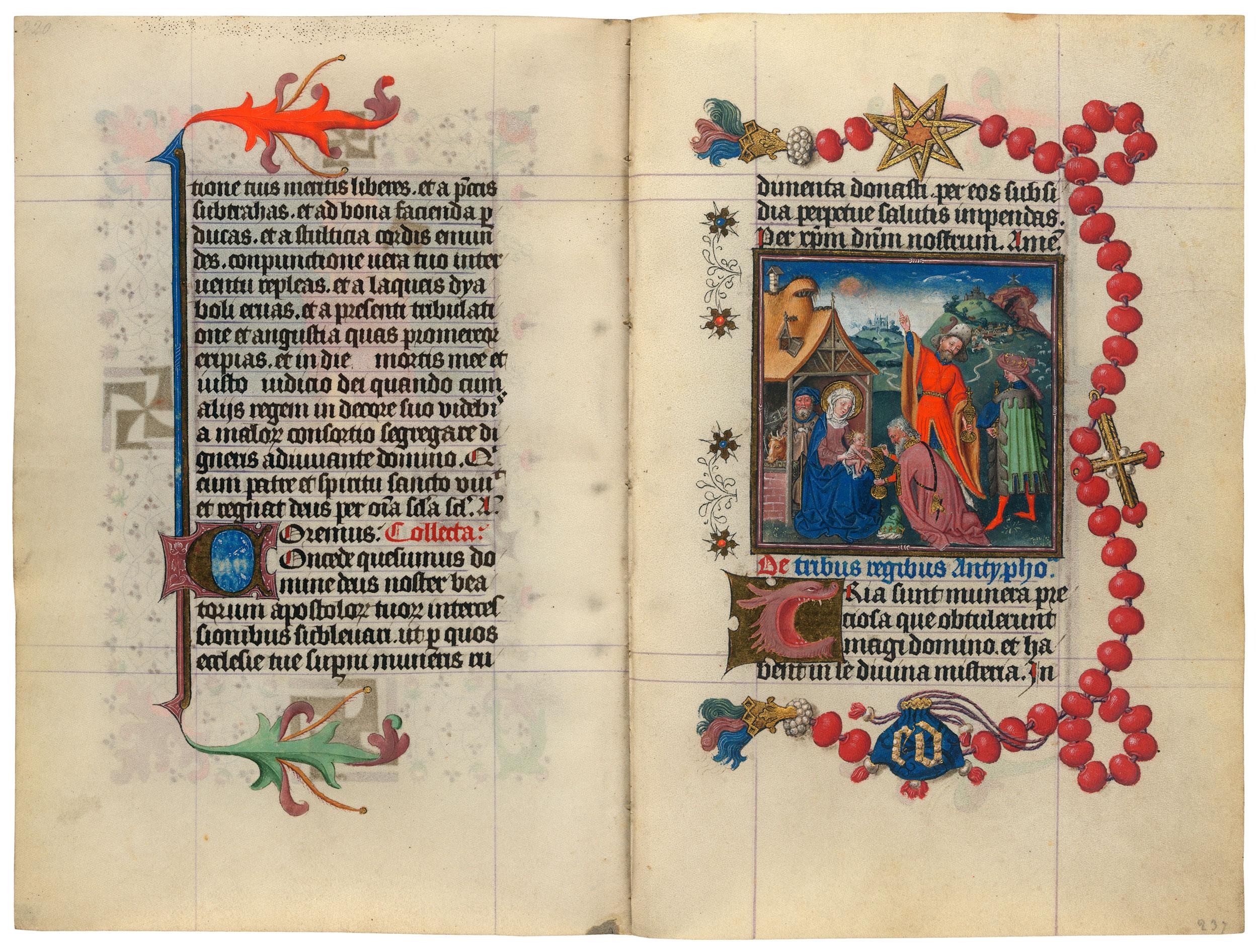 Heures de Catherine de Cleves ca. 1440 Morgan MS M.917-945, pp. 236–37 Adoration des Mages