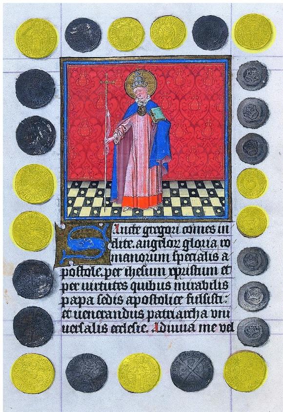 Heures de Catherine de Cleves ca. 1440 Morgan MS M.917-945, pp. 240-41 St Gregoire le Grand schema2