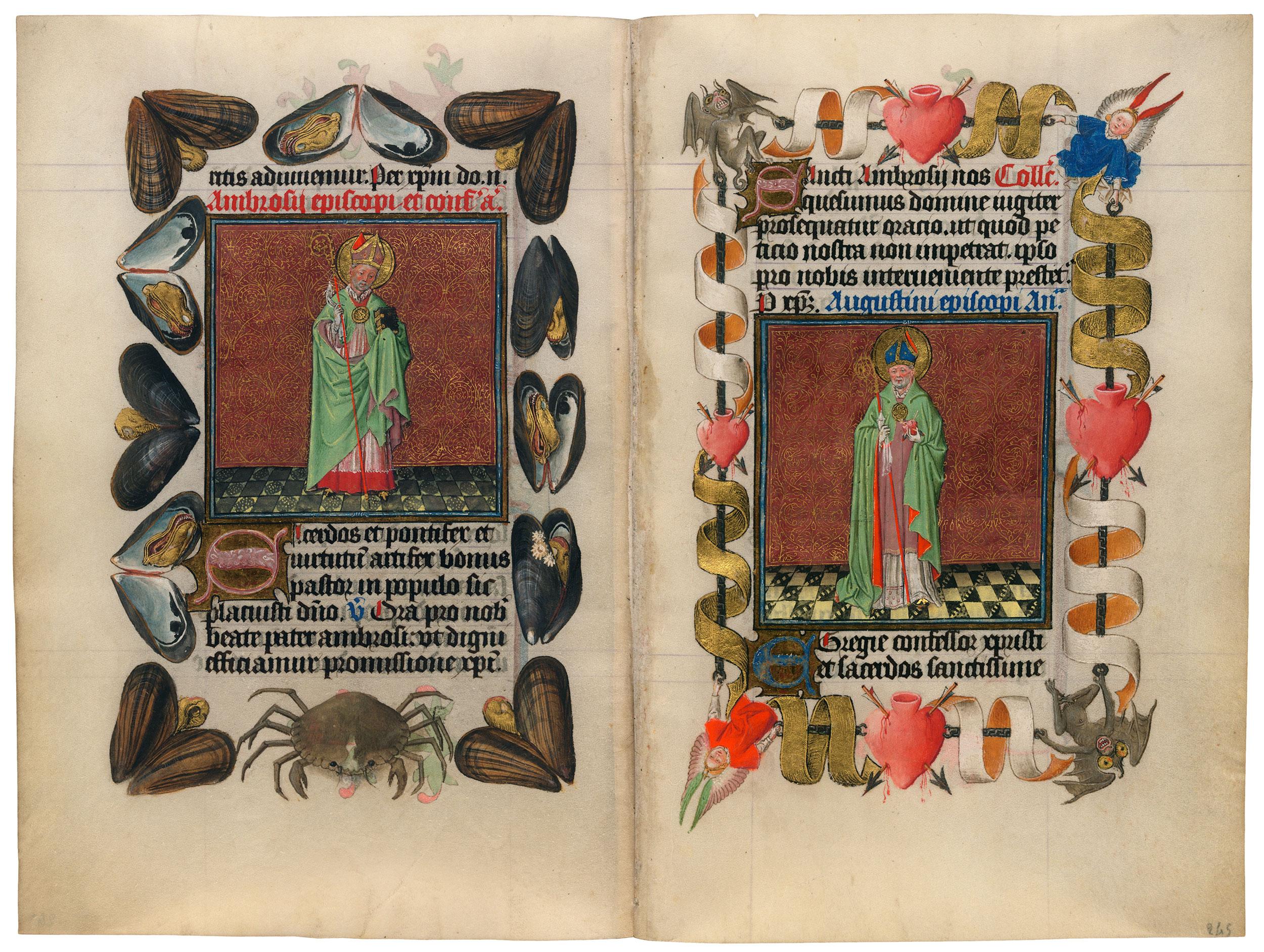 Heures de Catherine de Cleves ca. 1440 Morgan MS M.917-945, pp. 244-45 St Ambroise et Augustin