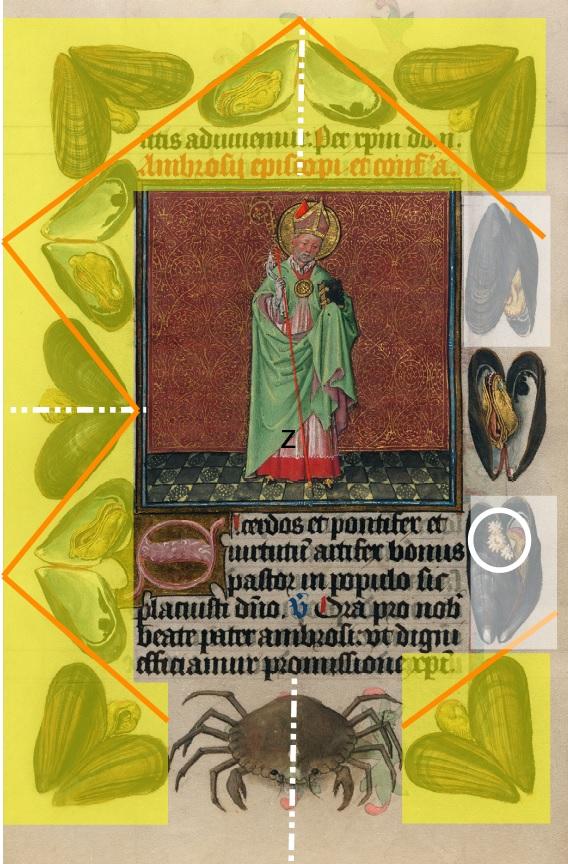 Heures de Catherine de Cleves ca. 1440 Morgan MS M.917-945, pp. 244 St Ambroise schema