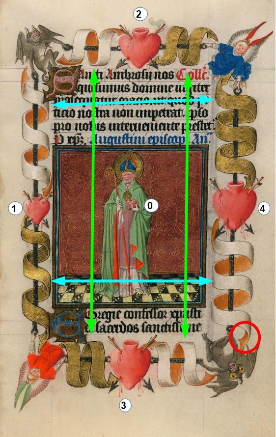 Heures de Catherine de Cleves ca. 1440 Morgan MS M.917-945, pp. 245 St Augustin schema