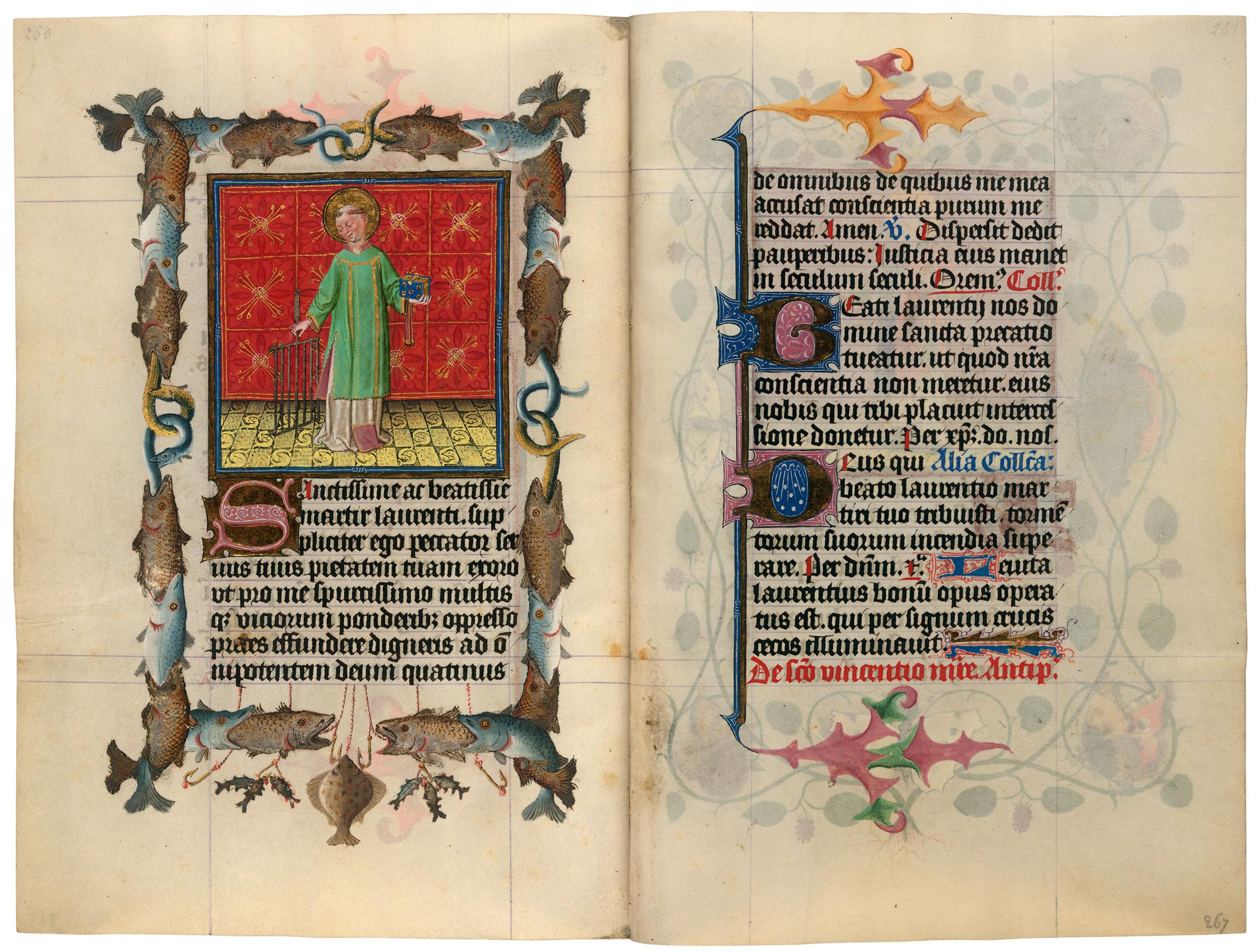 Heures de Catherine de Cleves ca. 1440 Morgan MS M.917-945, pp. 266-67 St Laurent