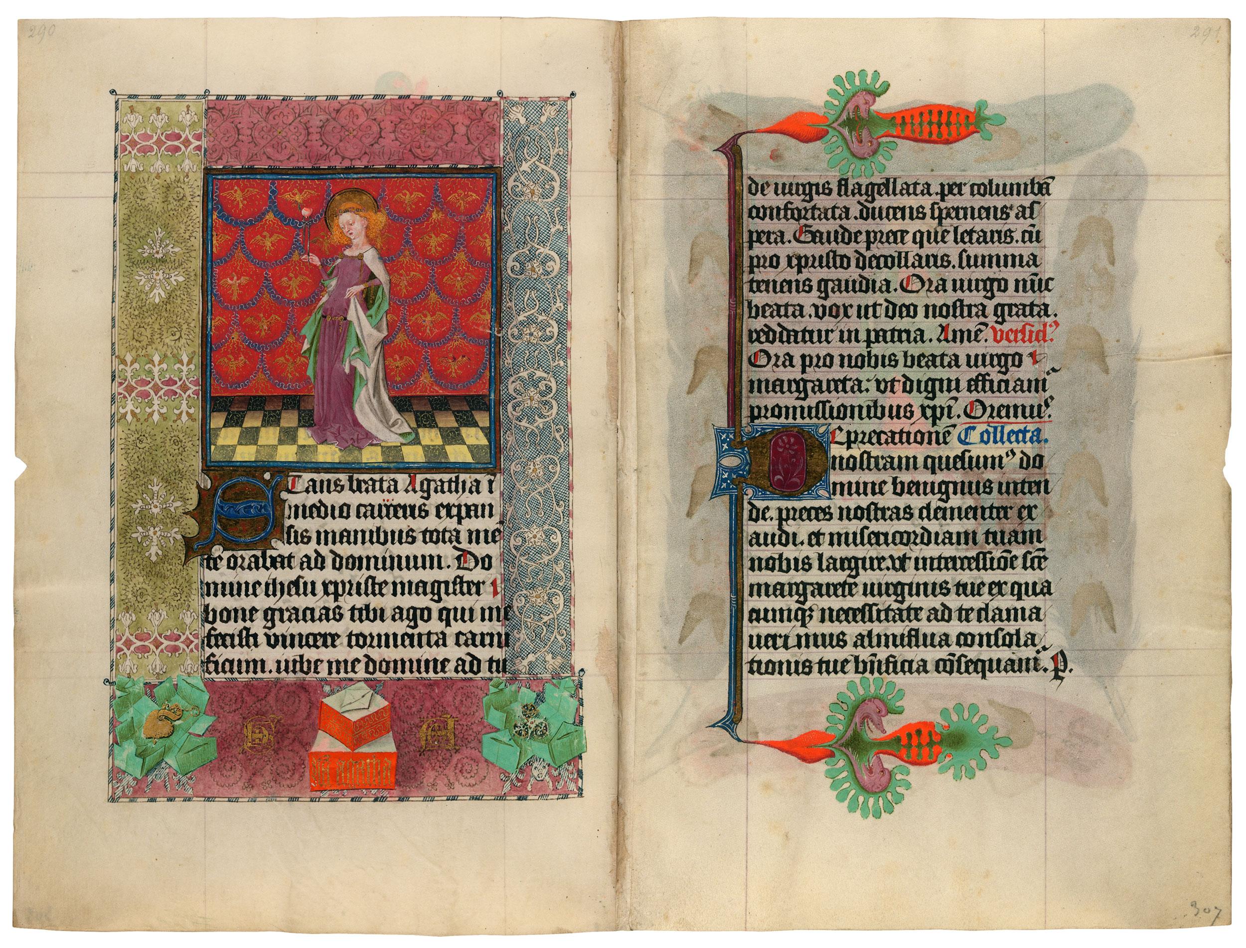 Heures de Catherine de Cleves ca. 1440 Morgan MS M.917-945, pp. 306–307 Ste Agathe
