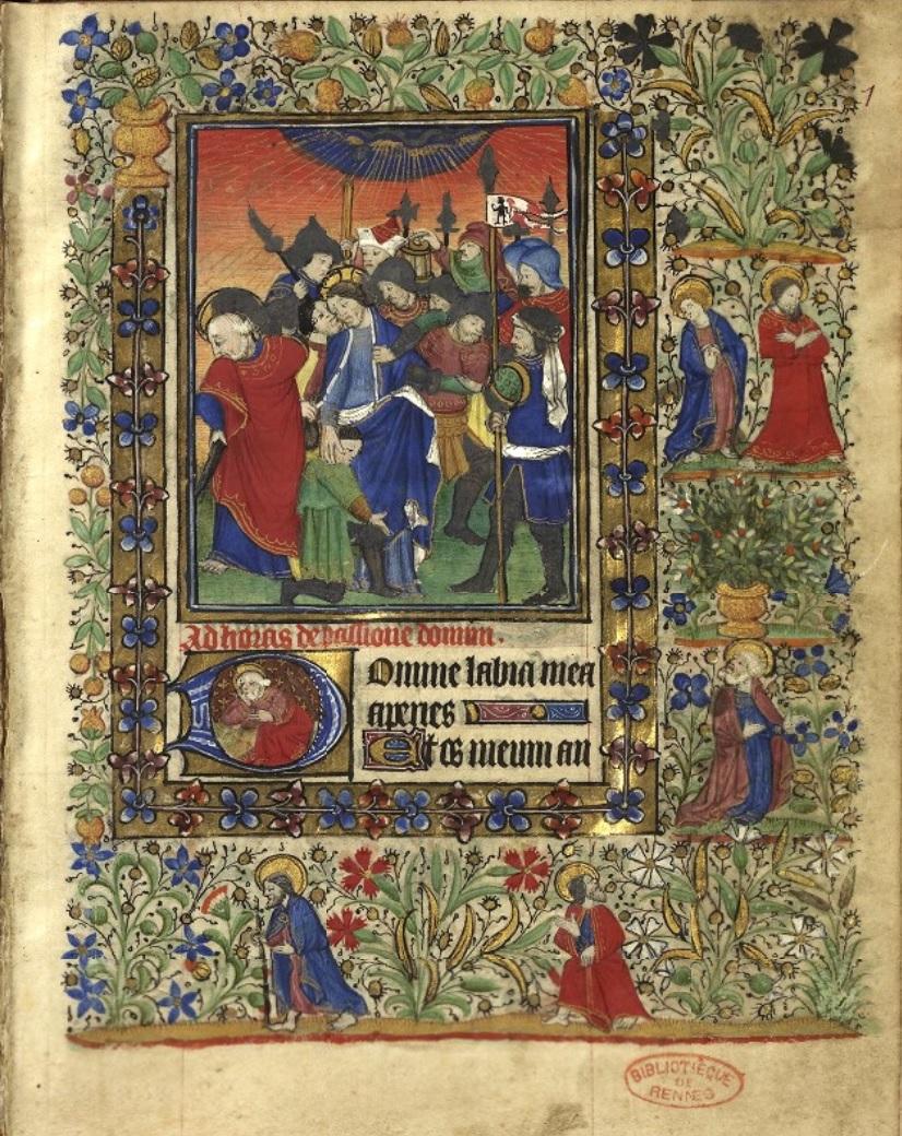 Heures de Catherine de Rohan et de Francoise de Dinan Rennes, BM, 0034 fol 001 Baiser de Judas