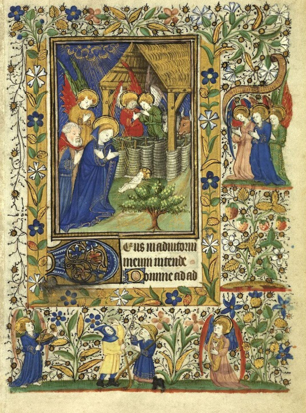 Heures de Catherine de Rohan et de Francoise de Dinan Rennes, BM, 0034 ter fol 1 Nativite