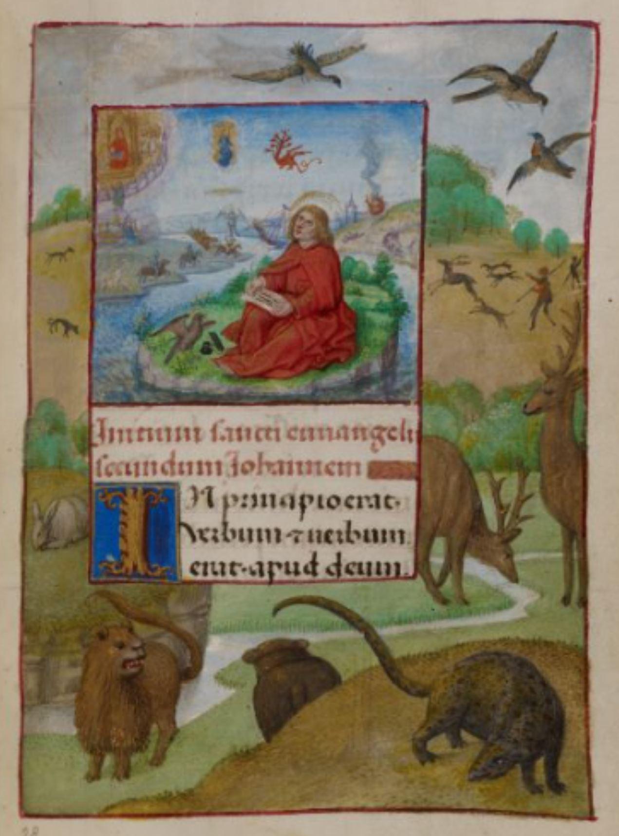 Heures de Marie de Castille Master of the David scene in the Grimani breviaire 1496 ca BL Add MS 18852 fol 182r St Jean